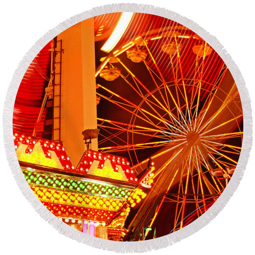 Carnival Round Beach Towel featuring the photograph Carnival Lights by Garry Gay
