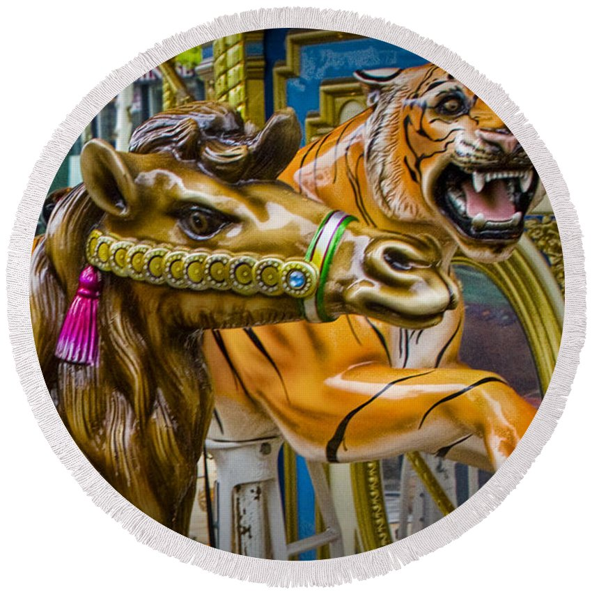 Art Round Beach Towel featuring the photograph Carousal Camel And Tiger On A Merry-go-round by Randall Nyhof