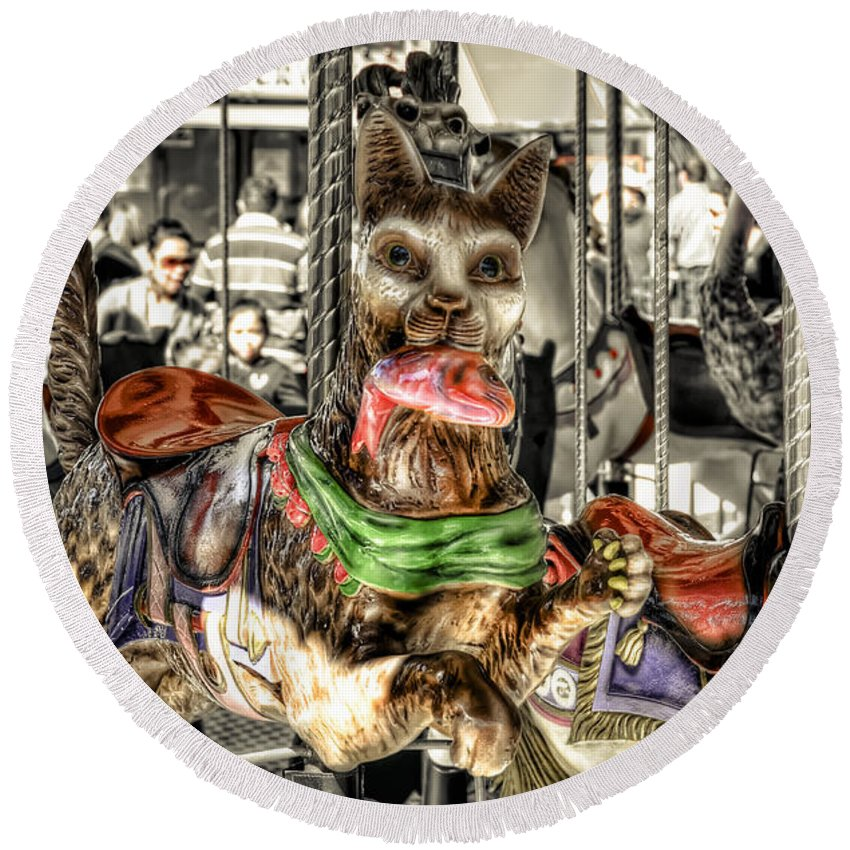 Cat Round Beach Towel featuring the photograph Carousel Cat by Wayne Sherriff