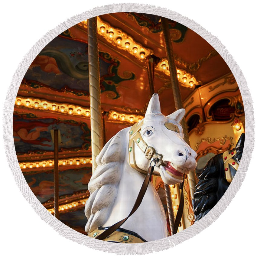 Detail Round Beach Towel featuring the photograph Carousel Horse by Fabrizio Troiani