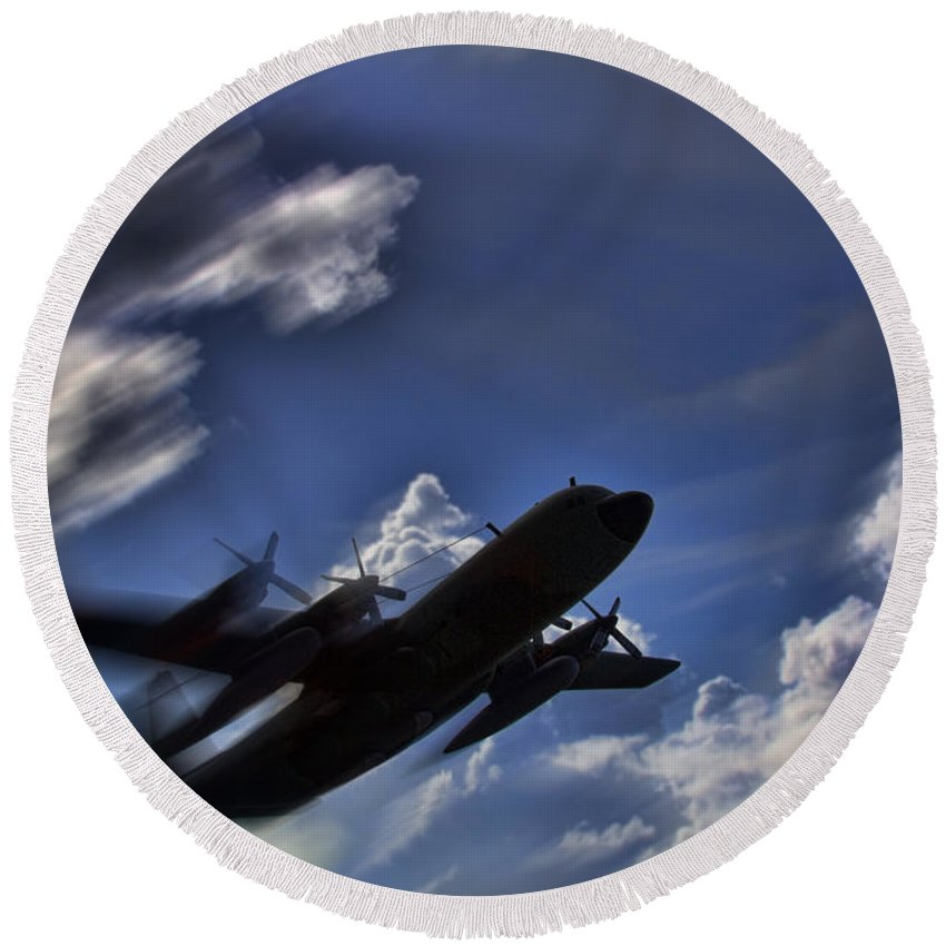 Lockheed Round Beach Towel featuring the photograph Carrying A Heavy Load by Douglas Barnard