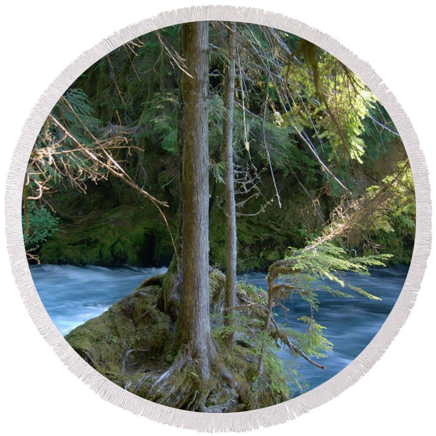 Rapids Round Beach Towel featuring the photograph Cascade Rapids by Mick Anderson