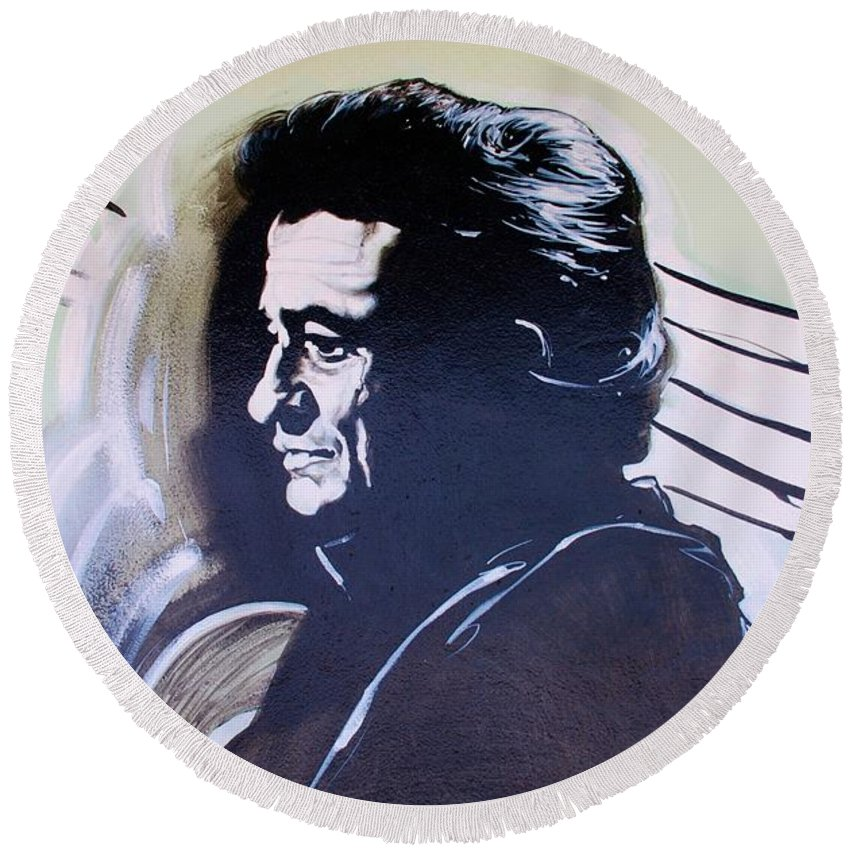 Johnny Cash Round Beach Towel featuring the photograph Cash by Rob Hans