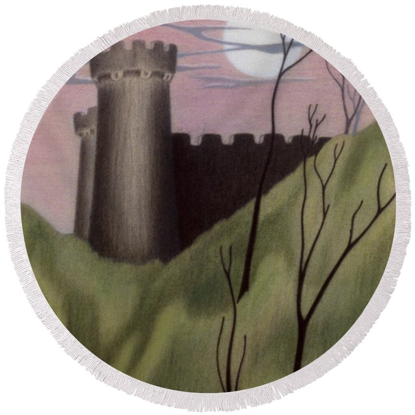 Castle Round Beach Towel featuring the pastel Castle By Moonlight by John Bowers