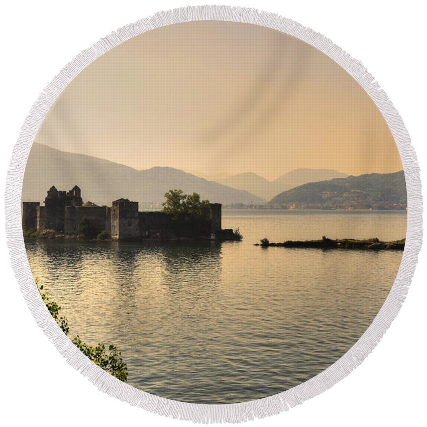 Castle Round Beach Towel featuring the photograph Castle Cannero On Lake by Mats Silvan