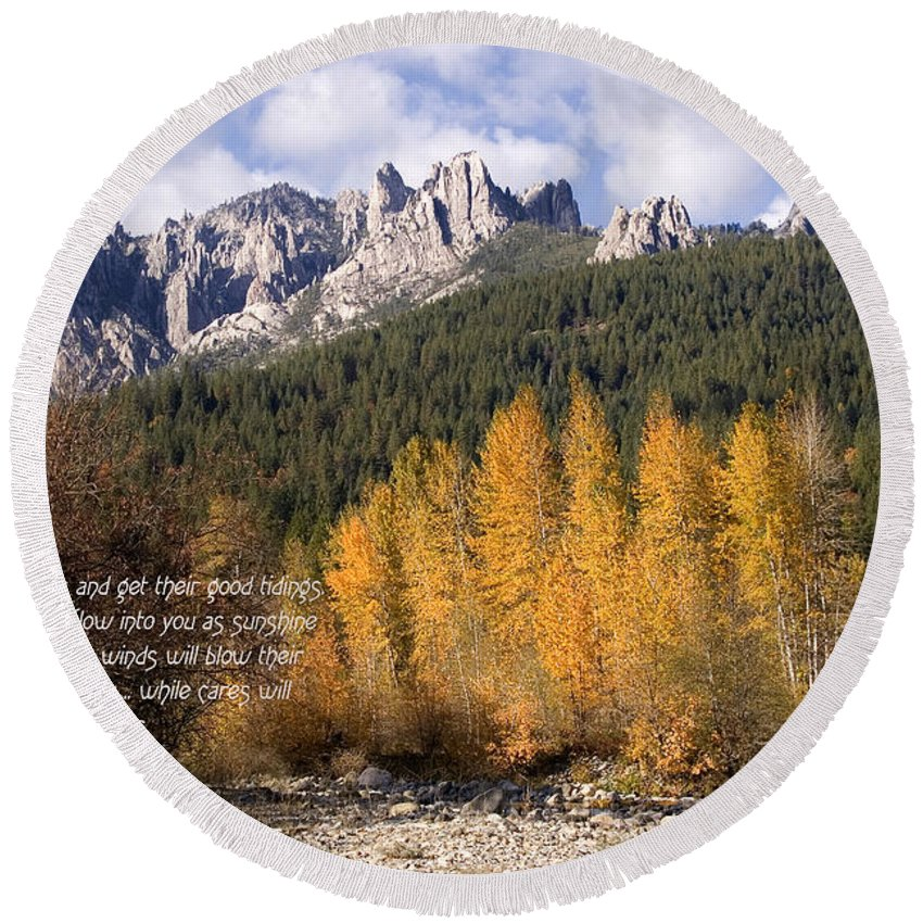 Castle Round Beach Towel featuring the photograph Castle Crags Autumn by Mick Anderson