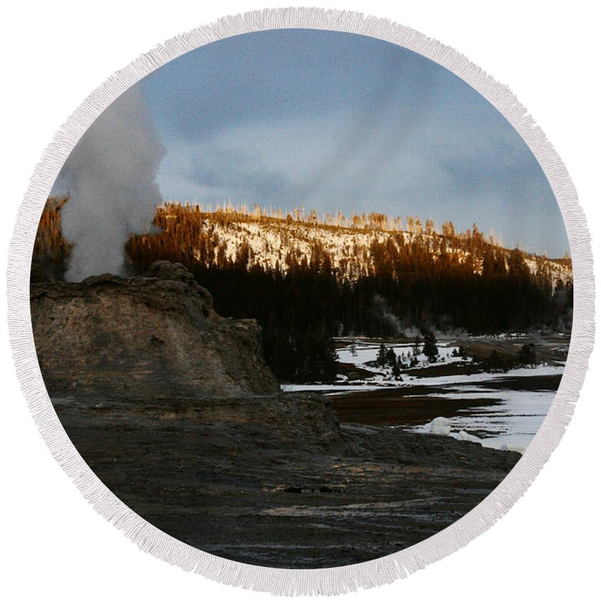 Geysers Round Beach Towel featuring the photograph Castle Geyser Yellowstone National Park by Benjamin Dahl