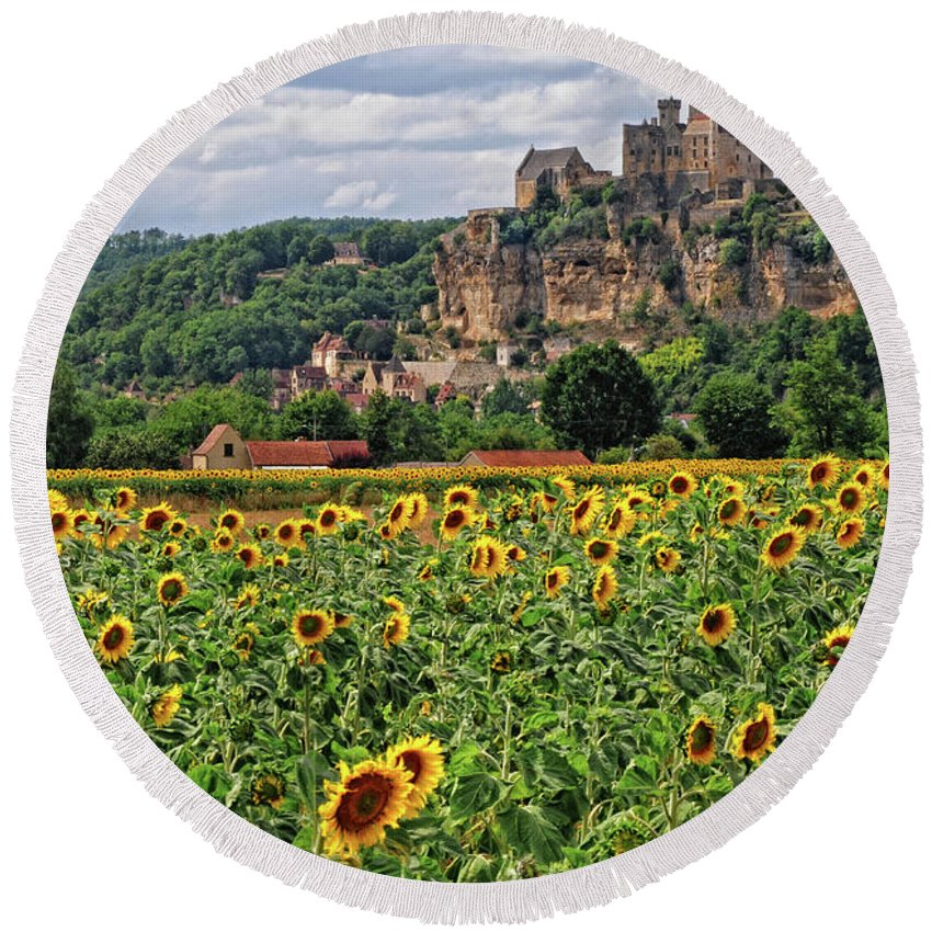 Castle Round Beach Towel featuring the photograph Castle In Dordogne Region France by Dave Mills