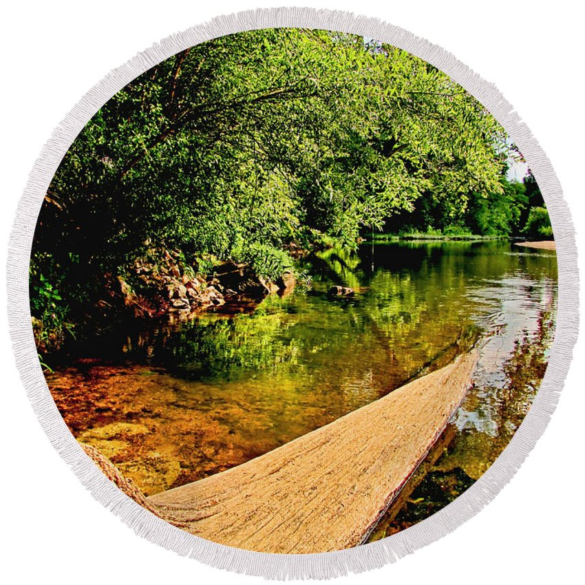 Nature Round Beach Towel featuring the photograph Castor River View by Debbie Portwood