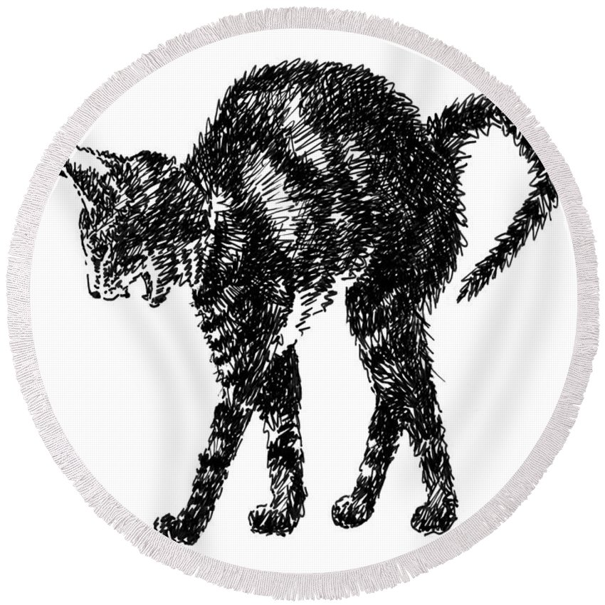 Cat Round Beach Towel featuring the drawing Cat-artwork-prints-2 by Gordon Punt
