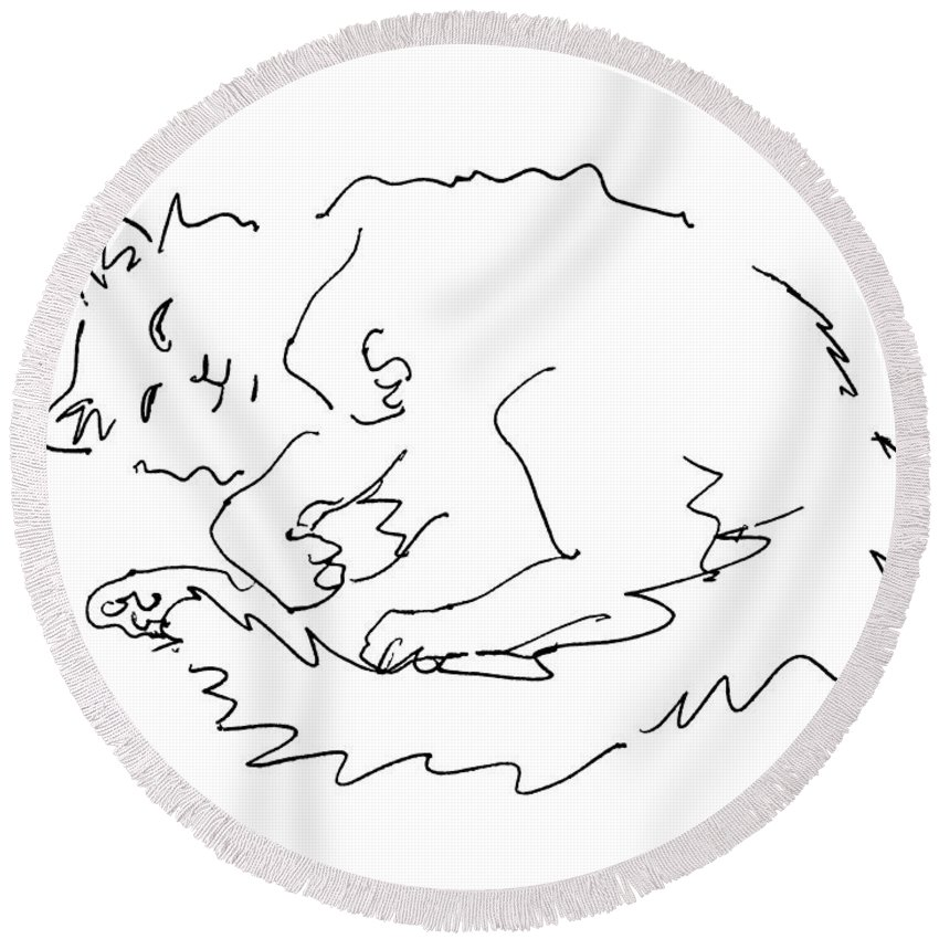 Cat Round Beach Towel featuring the drawing Cat-drawings-black-white-1 by Gordon Punt