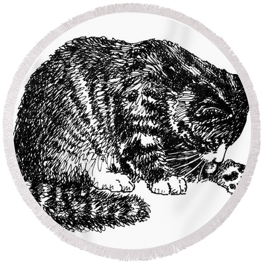 Cat Round Beach Towel featuring the drawing Cat-tabby-posters-1 by Gordon Punt