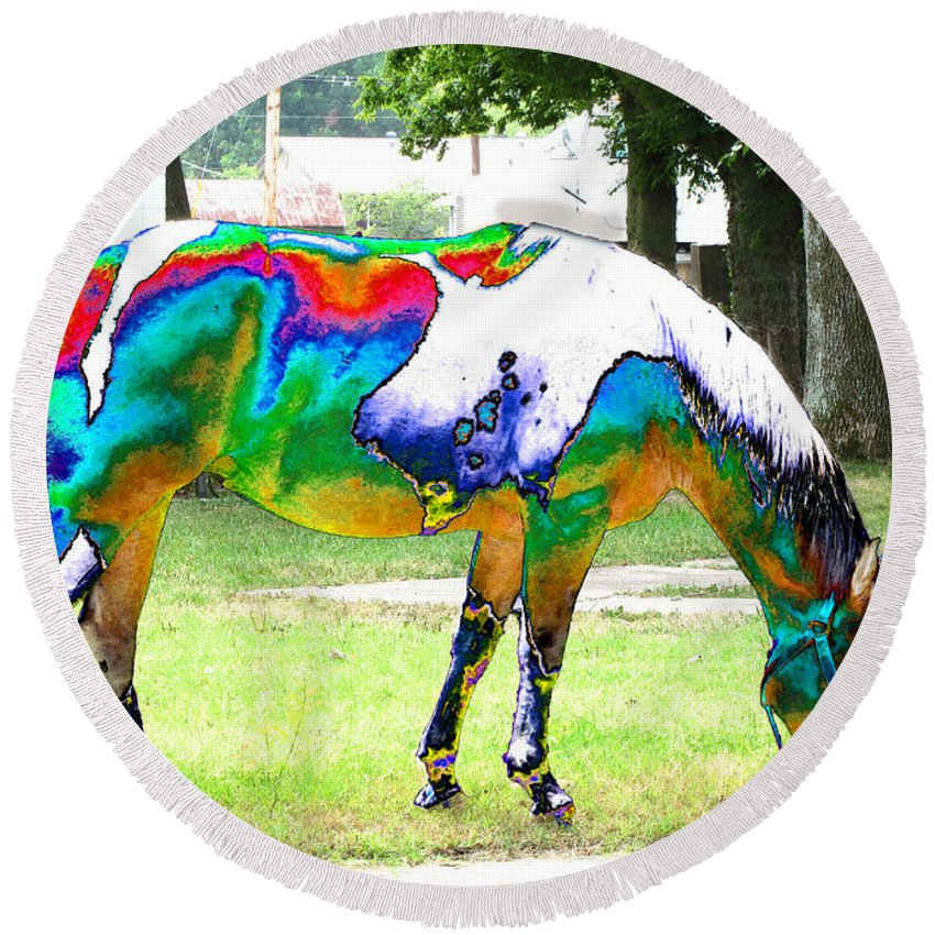 Animals Round Beach Towel featuring the photograph Catch A Painted Pony by Debbie Portwood