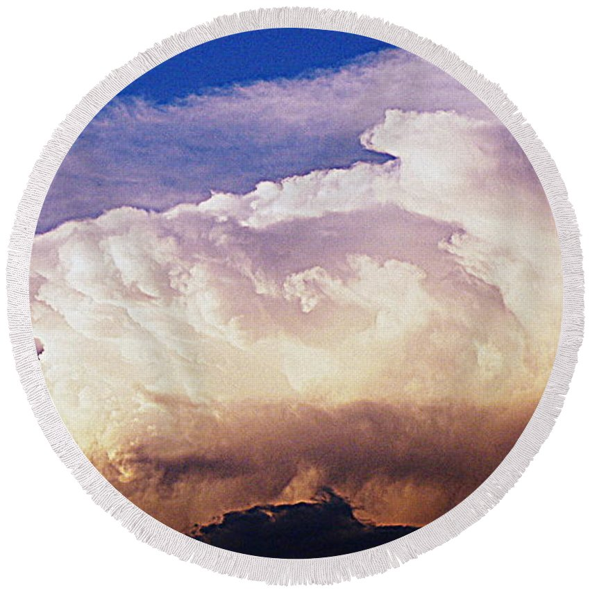 Clouds Round Beach Towel featuring the photograph Catch The Wave by Paul Wilford