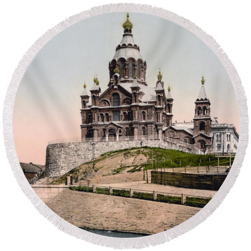 Helsinki Round Beach Towel featuring the photograph Cathedral In Helsinki Finland - Ca 1900 by International Images
