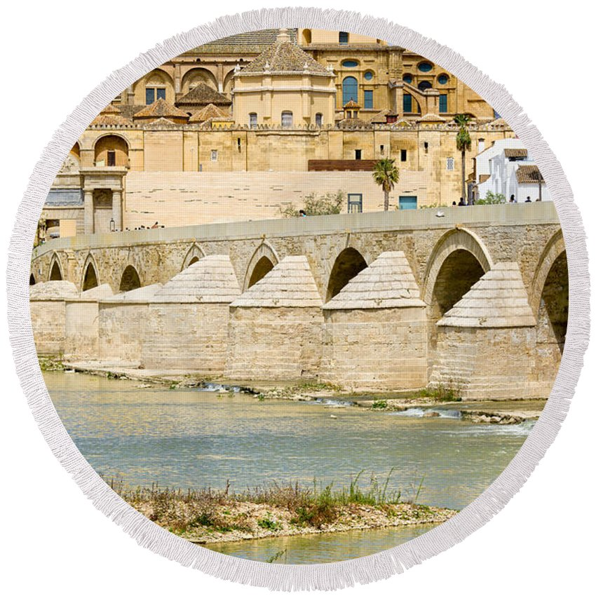 Cordoba Round Beach Towel featuring the photograph Cathedral Mosque In Cordoba by Artur Bogacki