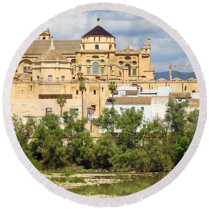Cordoba Round Beach Towel featuring the photograph Cathedral Mosque Of Cordoba by Artur Bogacki