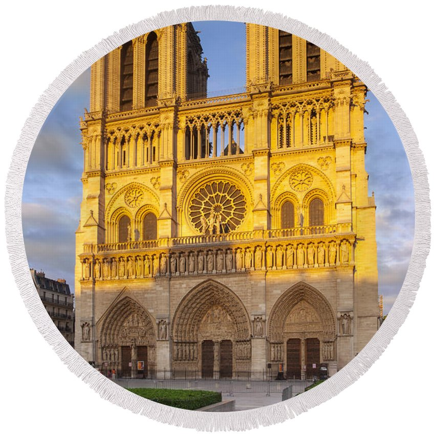 Architectural Round Beach Towel featuring the photograph Cathedral Notre Dame by Brian Jannsen
