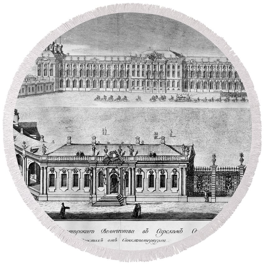 1761 Round Beach Towel featuring the photograph Catherine Palace, 1761 by Granger