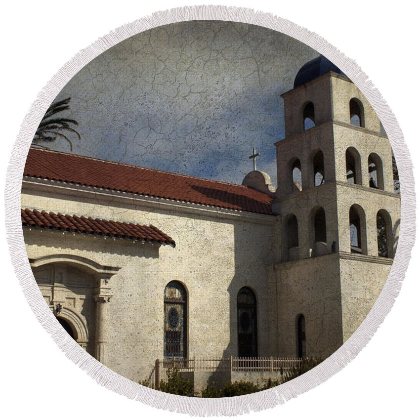 Church Round Beach Towel featuring the photograph Catholic Church Old Town San Diego by Linda Dunn