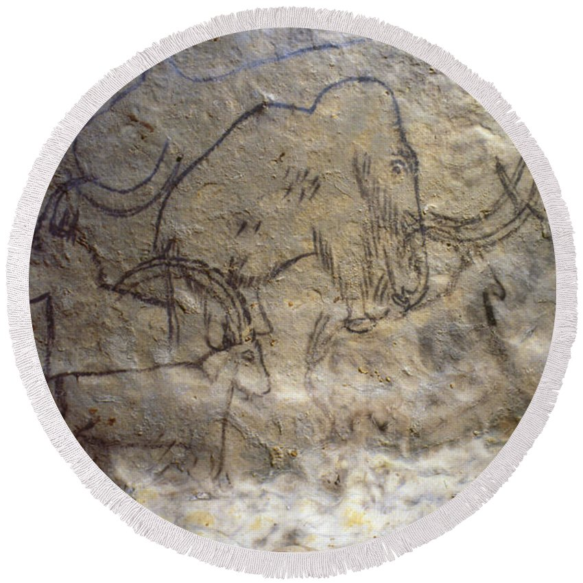 10 Round Beach Towel featuring the photograph Cave Art - Mammoth And Ibexes by Granger