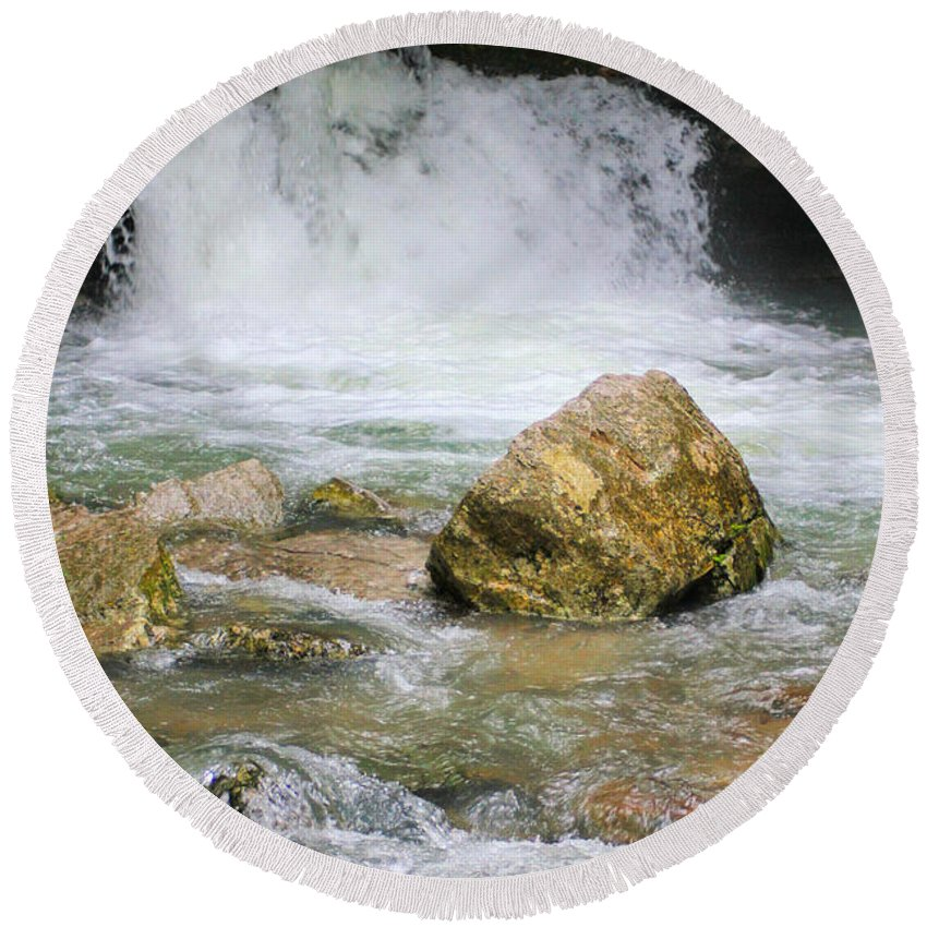 Ozarks Round Beach Towel featuring the photograph Cave Water Fall by Karen Wagner