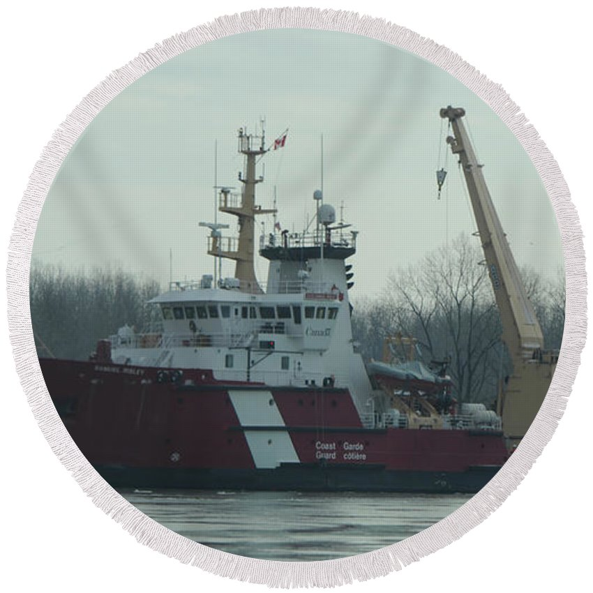 White Round Beach Towel featuring the photograph Ccgs Samuel Risley by Ronald Grogan