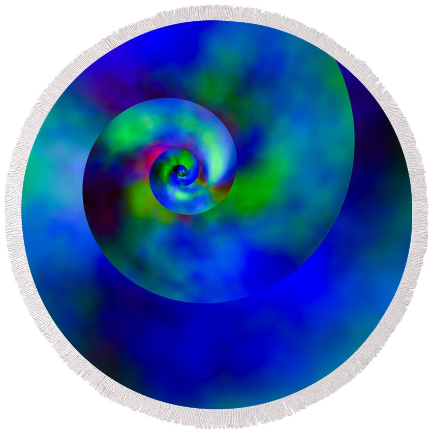 Nautilus Round Beach Towel featuring the digital art Celestial Nautilus by Hakon Soreide