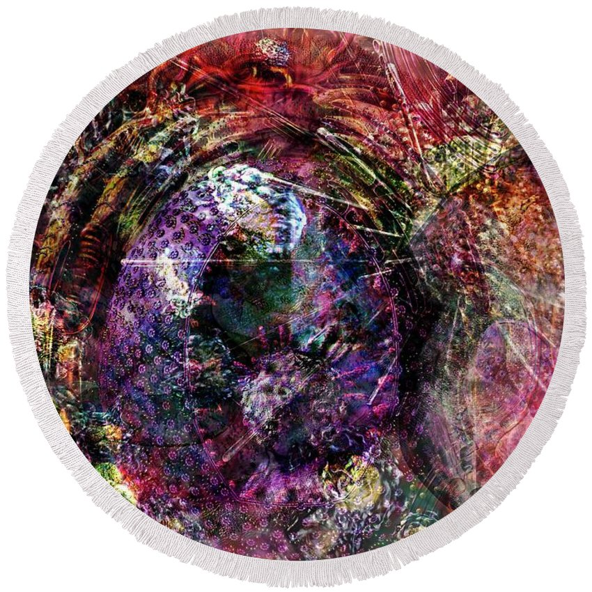 Abstract Round Beach Towel featuring the digital art Cell Dreaming 1 by Russell Kightley