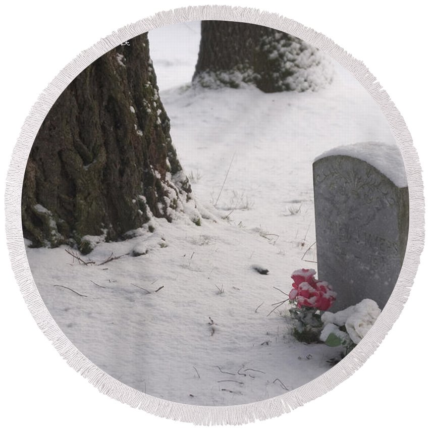 Cemetery Round Beach Towel featuring the photograph Cemetery In Winter by Mick Anderson