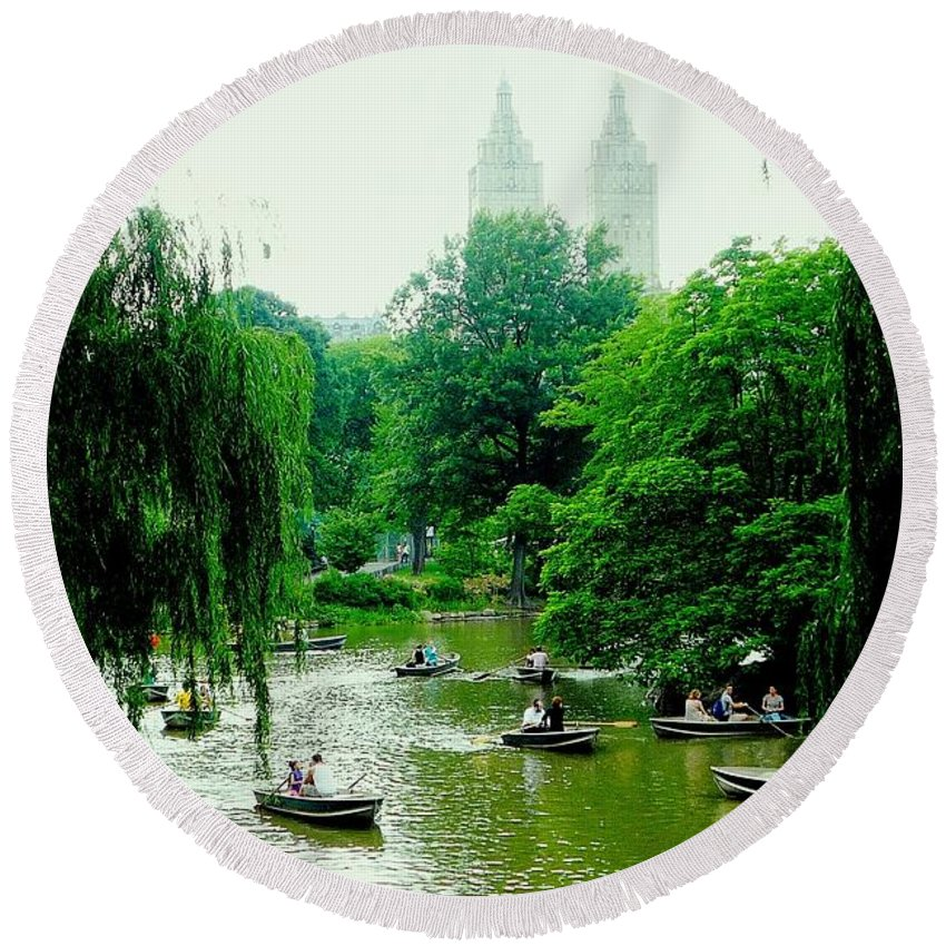 Central Park Round Beach Towel featuring the photograph Central Park Pond by Valentino Visentini