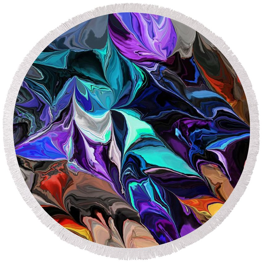 Fine Art Round Beach Towel featuring the digital art Chaotic Visions by David Lane
