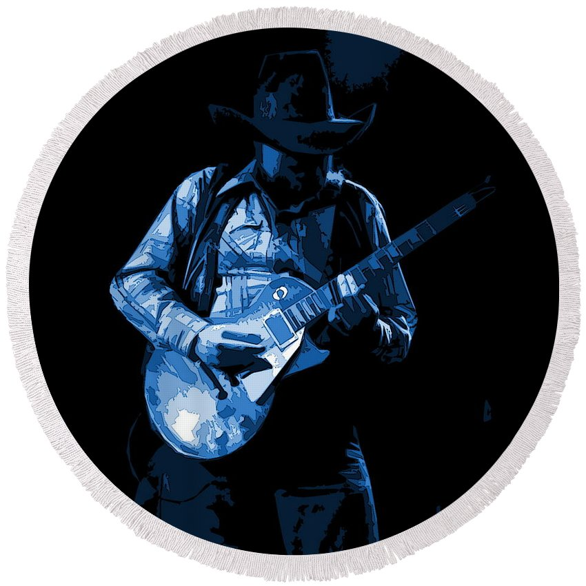 Charlie Daniels Round Beach Towel featuring the photograph Playing The Blues At Winterland In 1975 by Ben Upham