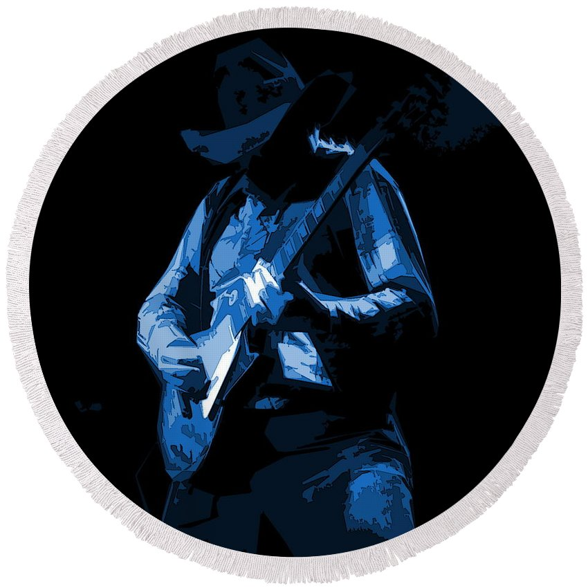 Charlie Daniels Round Beach Towel featuring the photograph Charlie On The Slide by Ben Upham