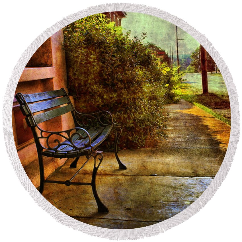 Bench Round Beach Towel featuring the photograph Charming Milton Morning by Sari Sauls