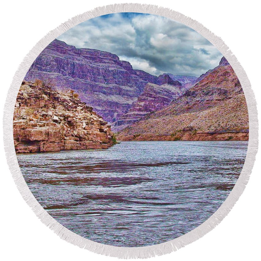 Charting The Mighty Colorado River-grand Canyon Round Beach Towel featuring the photograph Charting The Mighty Colorado River by Douglas Barnard