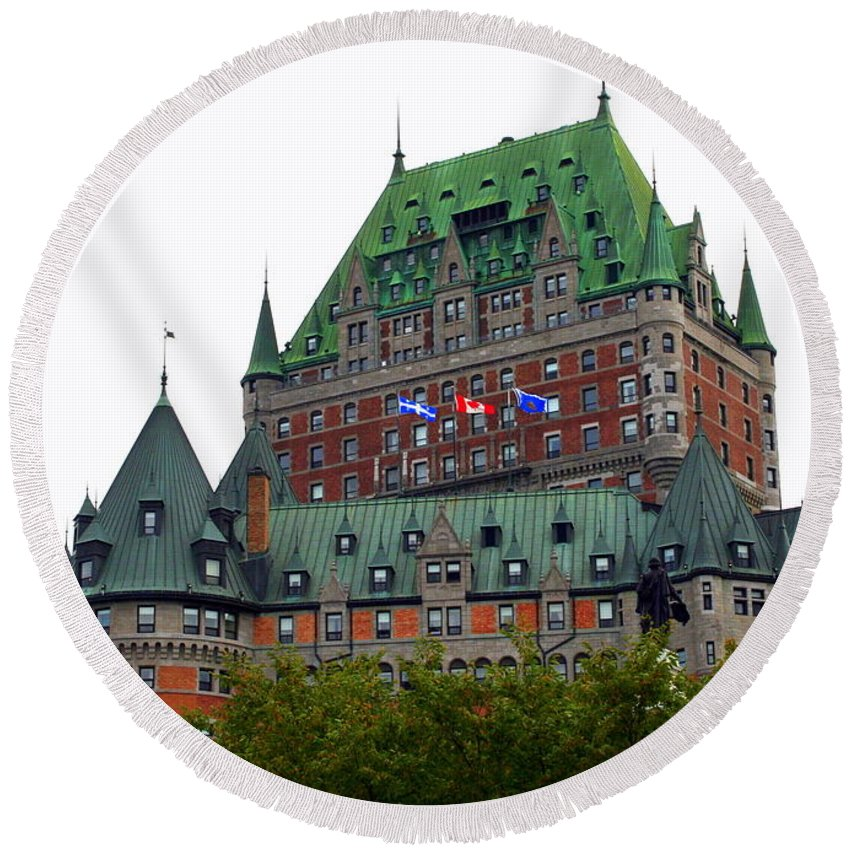 Chateau Frontenac Round Beach Towel featuring the photograph Chateau Frontenac by Laurel Talabere