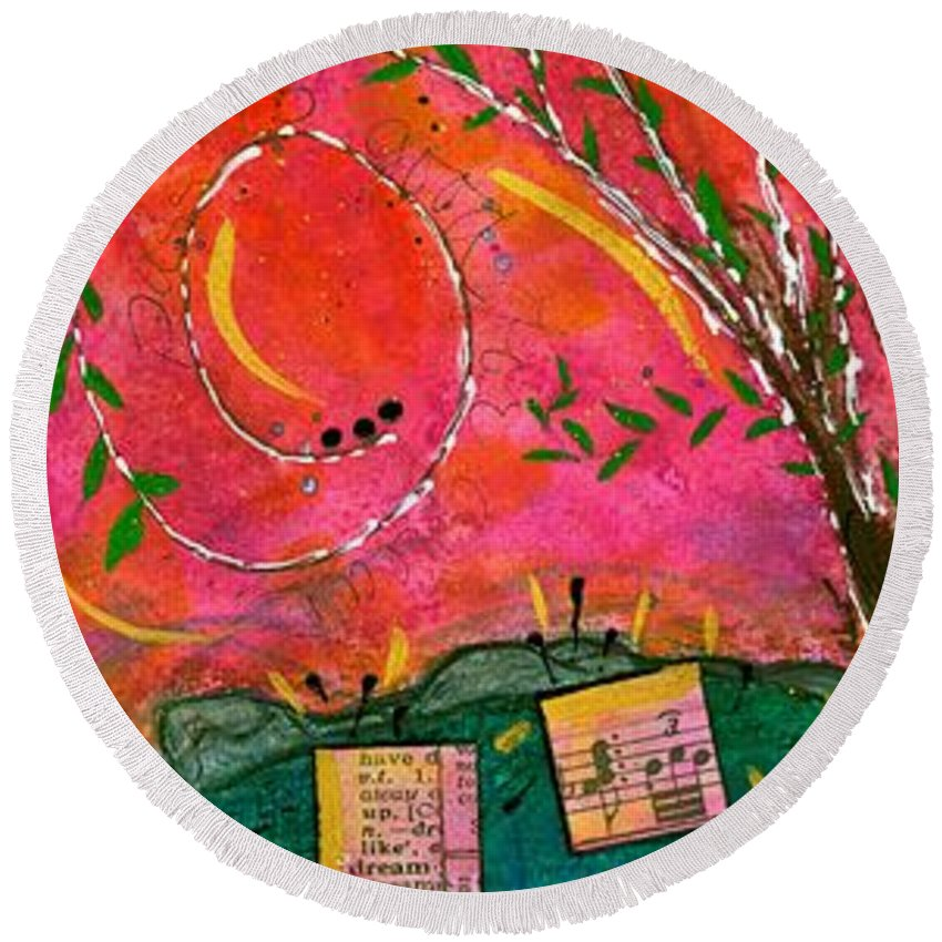 Acrylic Round Beach Towel featuring the mixed media Cherished Songbirds by Angela L Walker