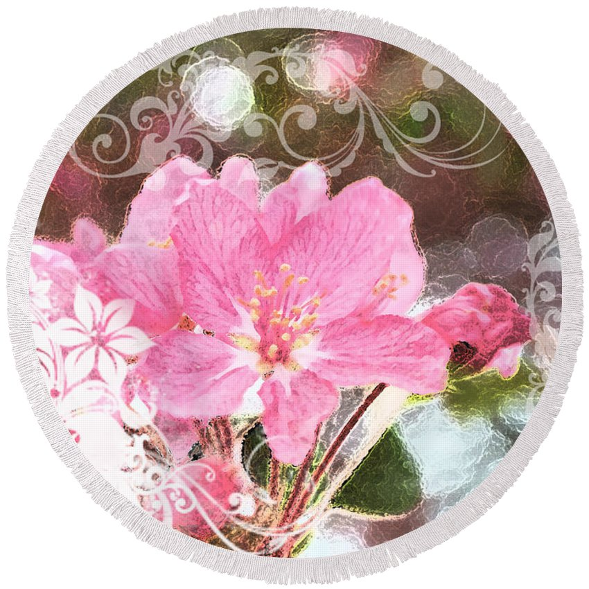 Nature Round Beach Towel featuring the photograph Cherry Blossom Art With Decorations by Debbie Portwood
