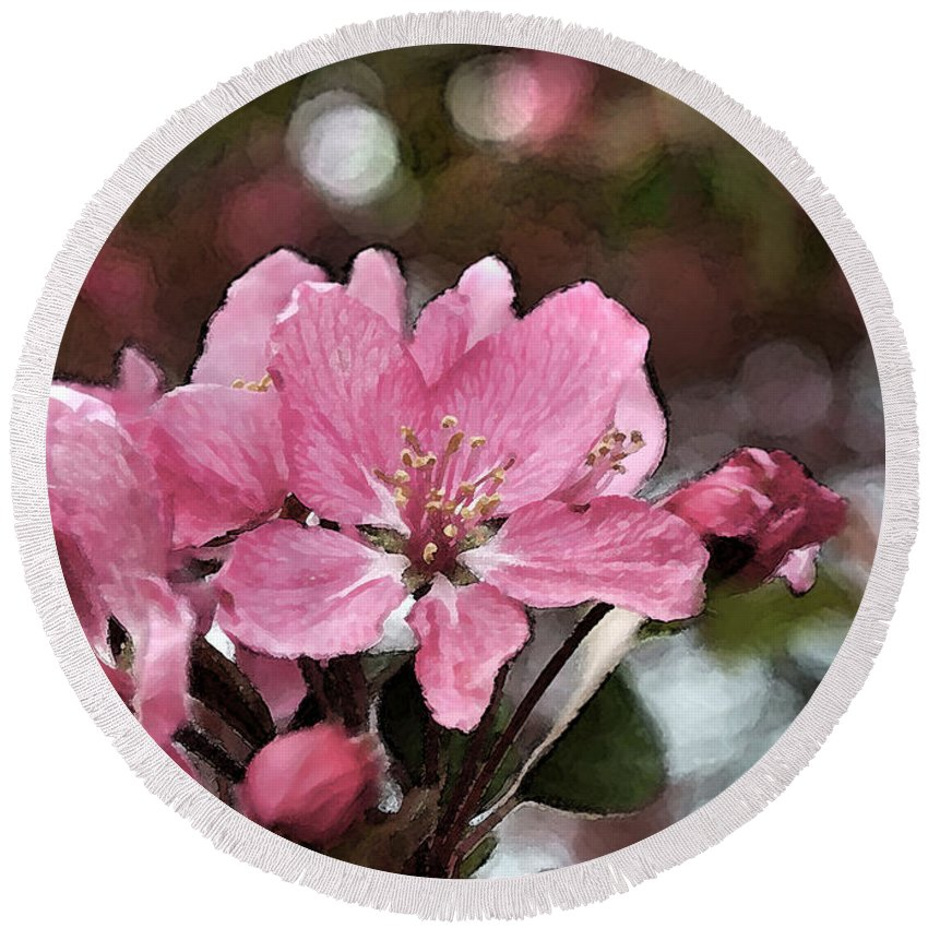 Nature Round Beach Towel featuring the photograph Cherry Blossom Photo Art And Blank Greeting Card by Debbie Portwood