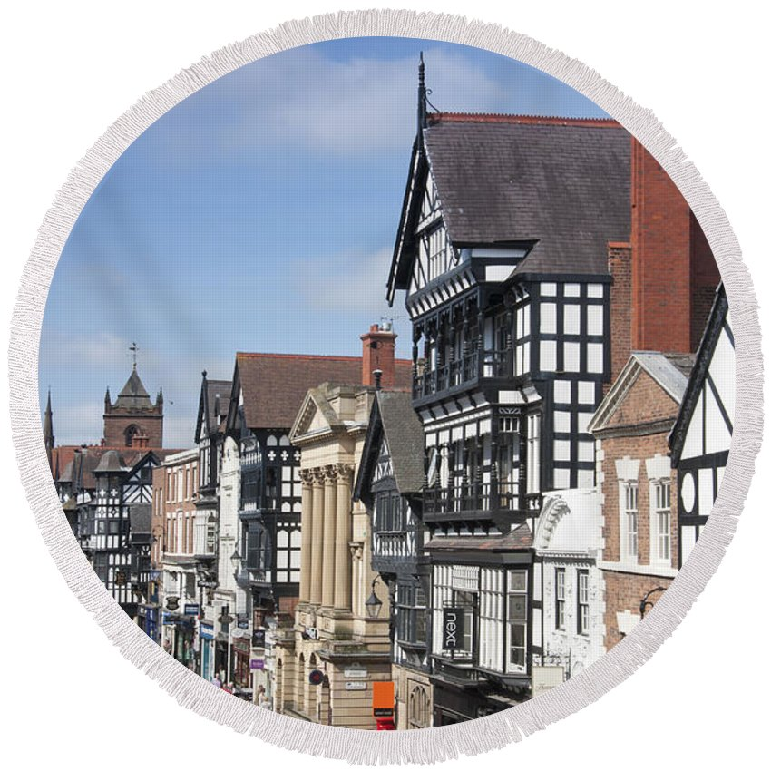 Chester Round Beach Towel featuring the photograph Chester City Centre by Andrew Michael