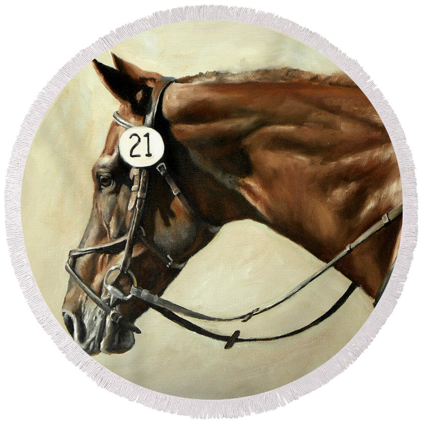 Horse Round Beach Towel featuring the painting Chestnut by Carole Andreen-Harris