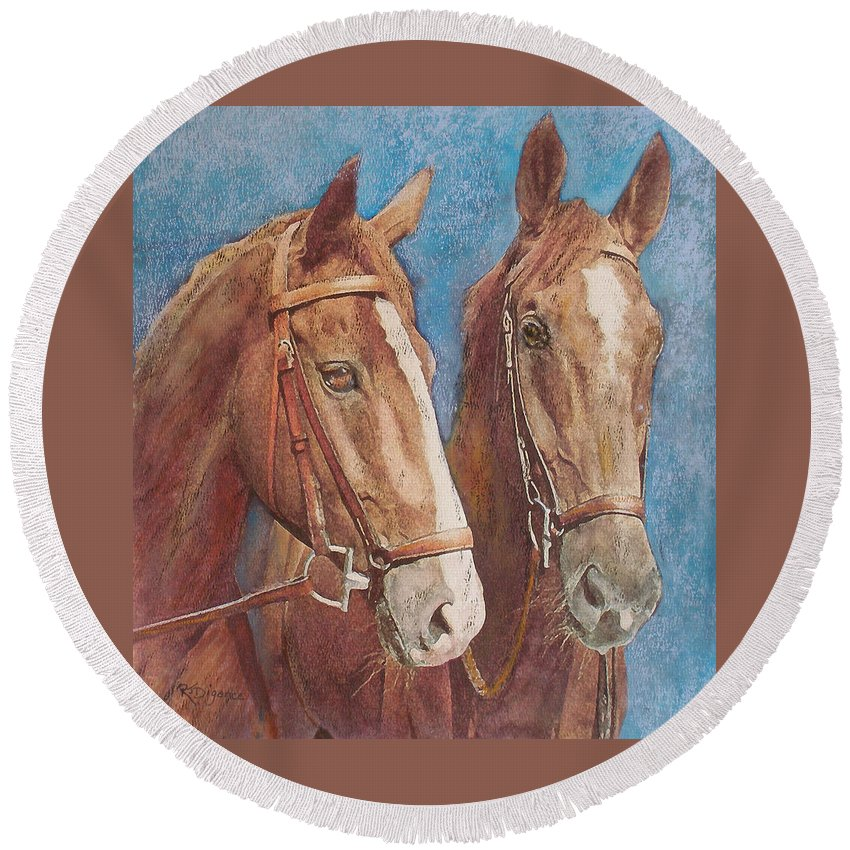 Horse Round Beach Towel featuring the painting Chestnut Pals by Richard James Digance