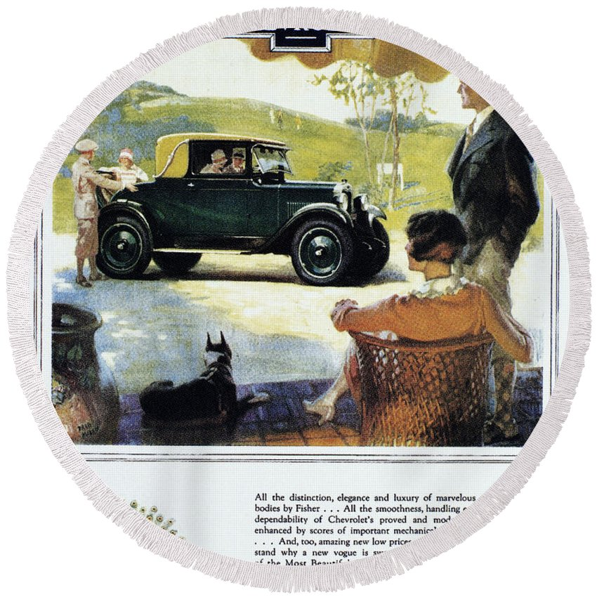 1927 Round Beach Towel featuring the photograph Chevrolet Ad, 1927 by Granger