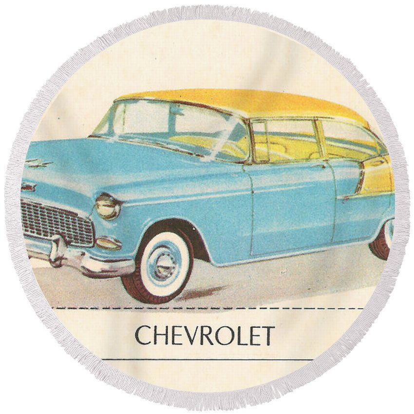 Chevrolet Round Beach Towel featuring the digital art Chevrolet by Georgia Fowler
