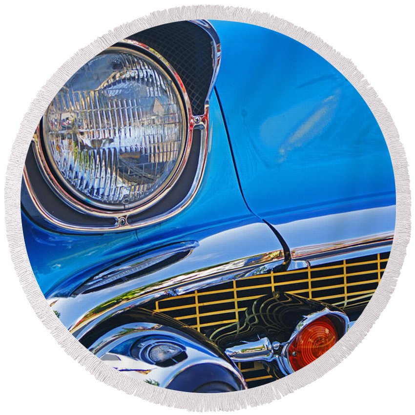 Custom Cars Round Beach Towel featuring the photograph Chevy Headlight by Randy Harris