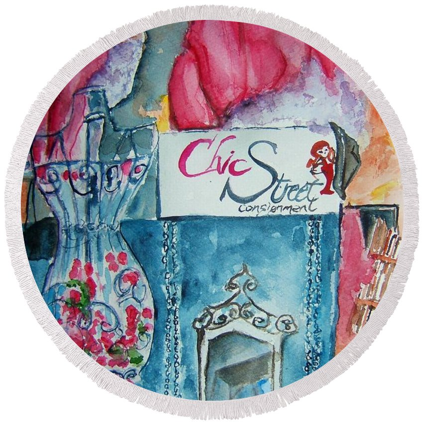 Vintage Round Beach Towel featuring the painting Chic Street Consignments by Elaine Duras