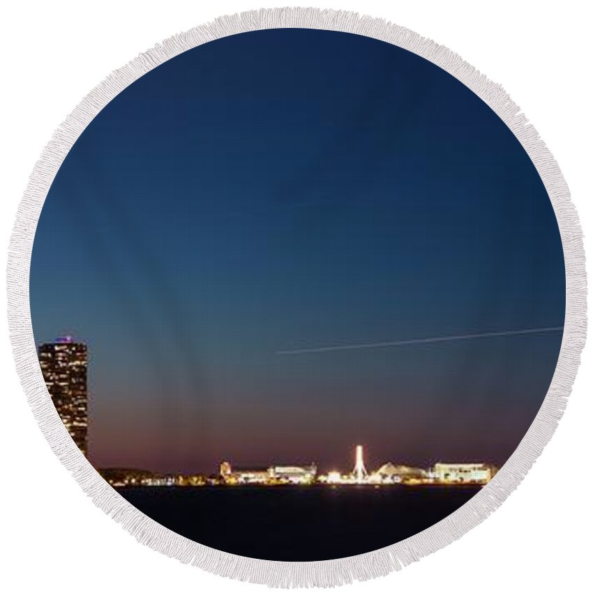 Architecture Round Beach Towel featuring the photograph Chicago Navy Pier At Night by Semmick Photo