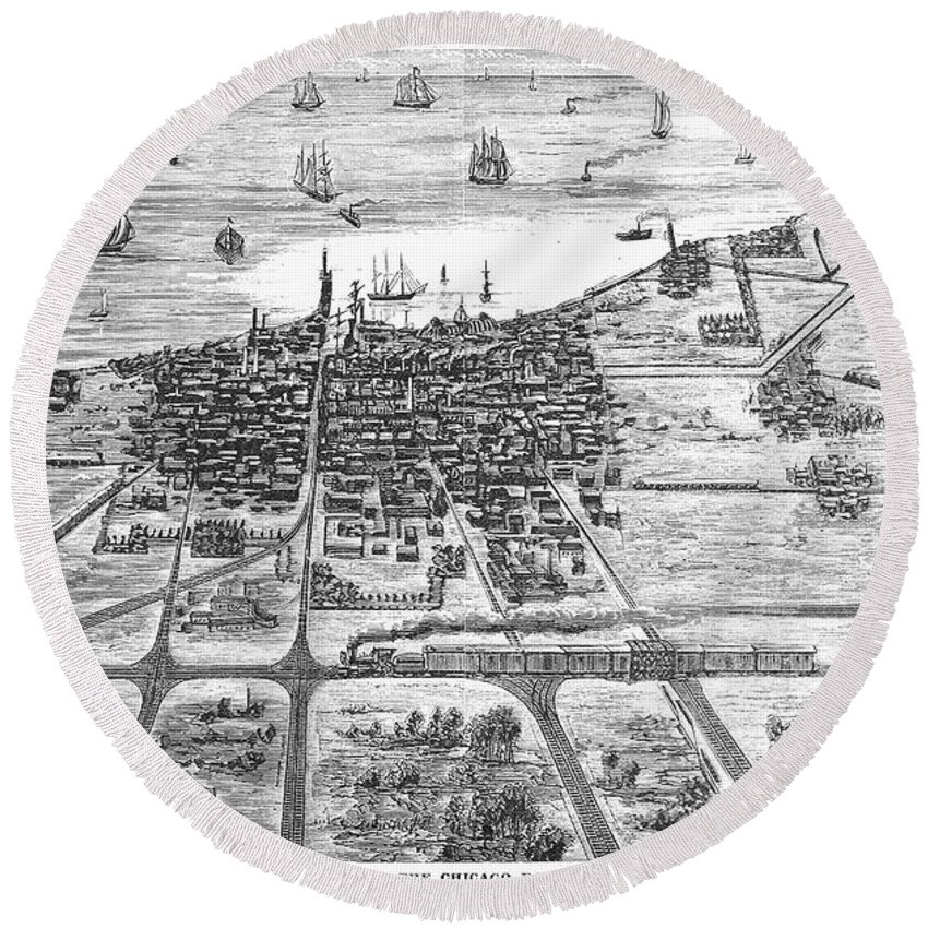 1878 Round Beach Towel featuring the photograph Chicago: Railroad, 1878 by Granger