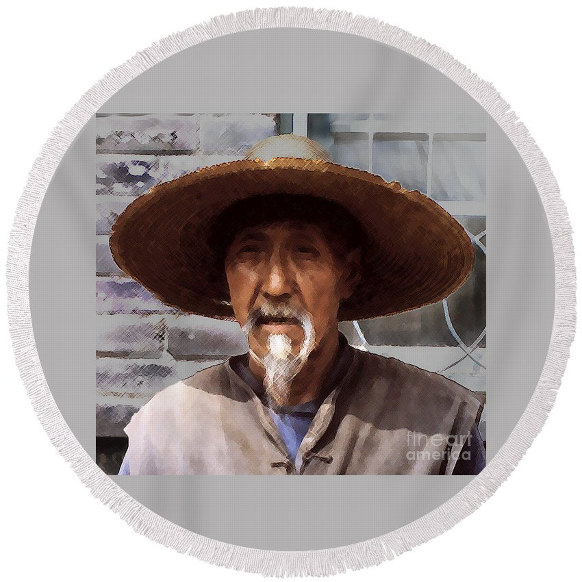 Chinese Farmer Round Beach Towel featuring the photograph Chinaman by Lydia Holly